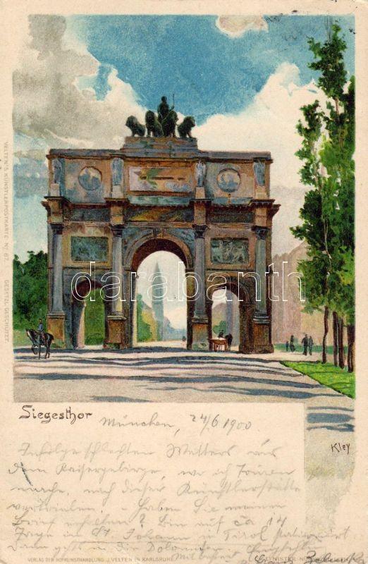 Munich, München; Siegesthor / gate, litho s: kley