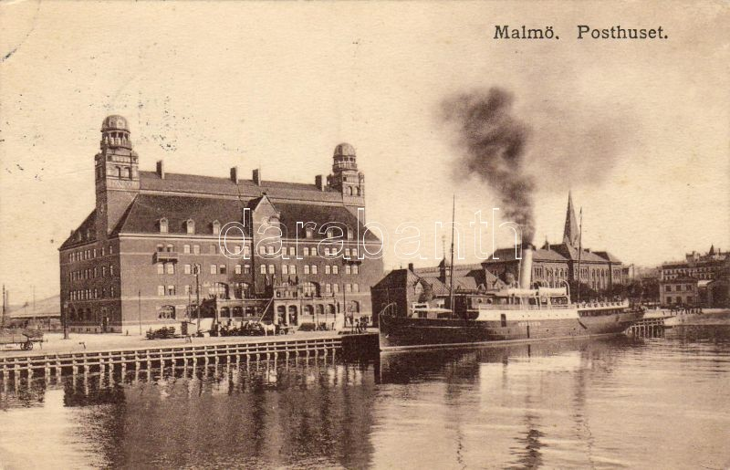 Malmö, Posthuset / post office, steamship