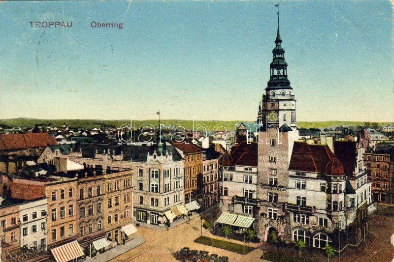 Opava, Troppau; Oberring / main square, town hall, restaurant