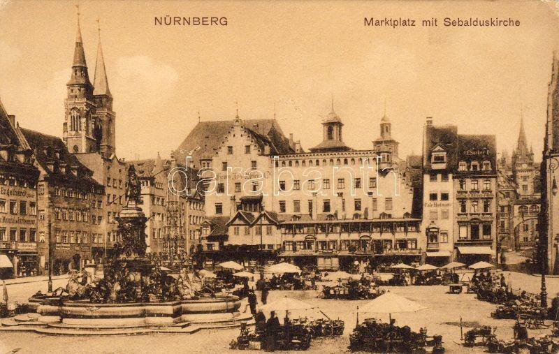Nürnberg, market, Neptun statue, St. Sebaldus Church, C.C. Sucker candle factory, Engelhardt textile and clothing shop, Hotel Georg Jus Weier, Cafe Hofmann