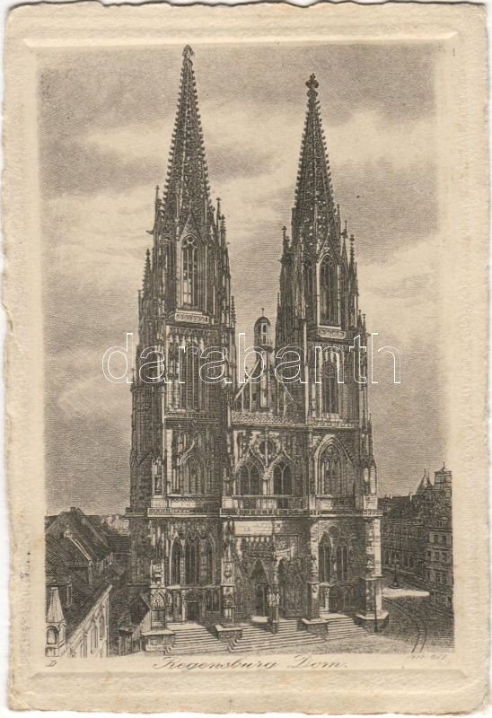 Regensburg, cathedral, etching