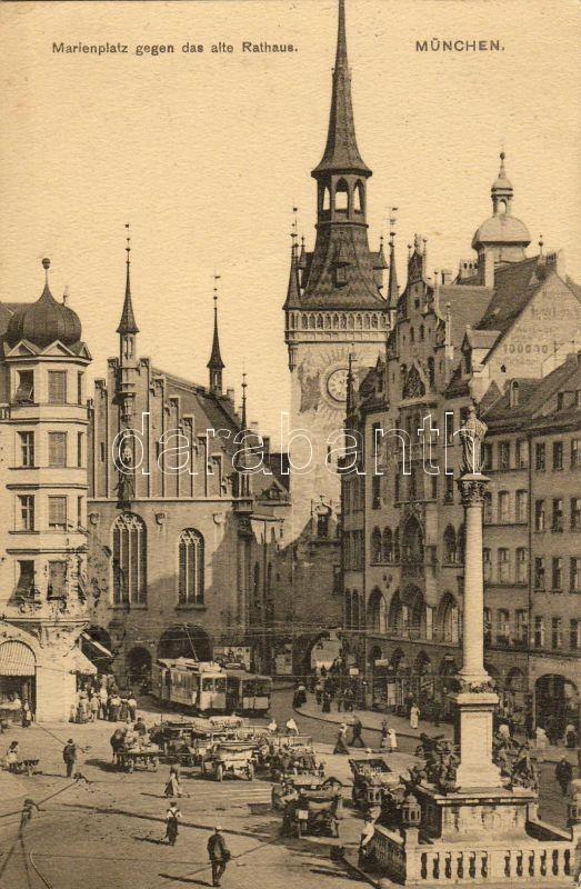 München, Marienplatz, Rathaus, Mariensäule / square, town hall, statue, automobiles, trams,