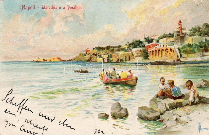 Naples, Napoli; Marechiaro a Posillipo, artist signed