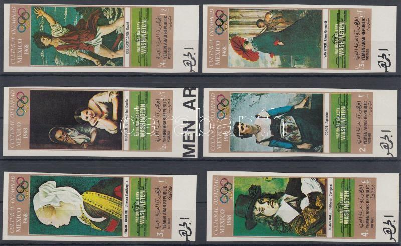 Kultur- Olympiade Mexikó (VII.) ívszéli vágott sor Kultur-Olympiade Mexiko (1968) (VIII): Gemälde der National Gallery Washington (I). Satz mit Bogenrand Kultur-Olimpiade Mexico (VII.) imperforated set