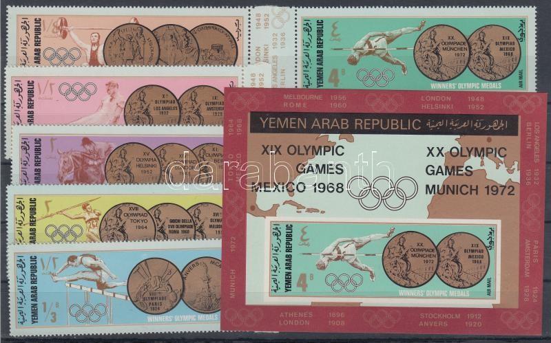 Az olimpia érmesei (I.) sor + blokk Goldmedaillen Olympischer Sommerspiele (I) Satz mit Rand + Block The Olympics medalists (I.) margin set + block