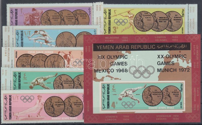 The Olympics medalists (I.) margin set + block Goldmedaillen Olympischer Sommerspiele (I) Satz mit Rand + Block Az olimpia érmesei (I.) sor + blokk
