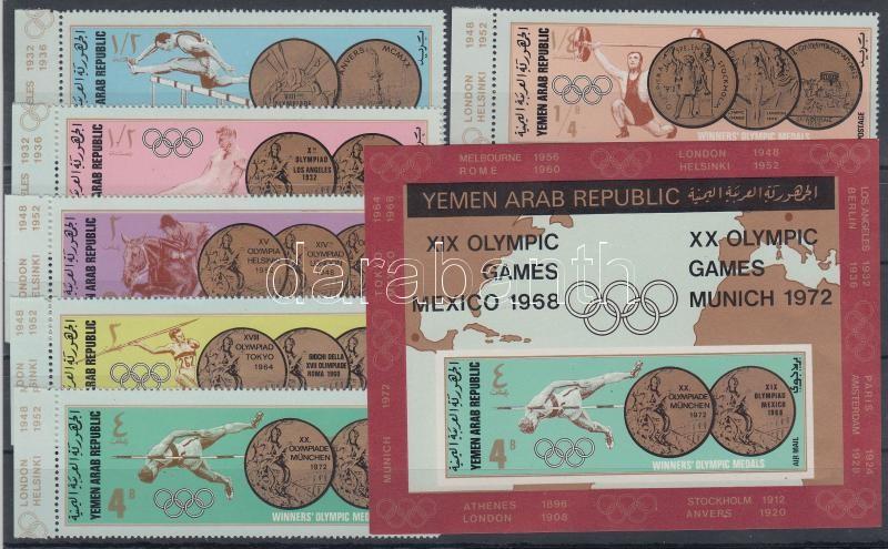 Az olimpia érmesei (I.) ívszéli sor + blokk Goldmedaillen Olympischer Sommerspiele (I) Satz mit Rand + Block The Olympics medalists (I.) margin set + block