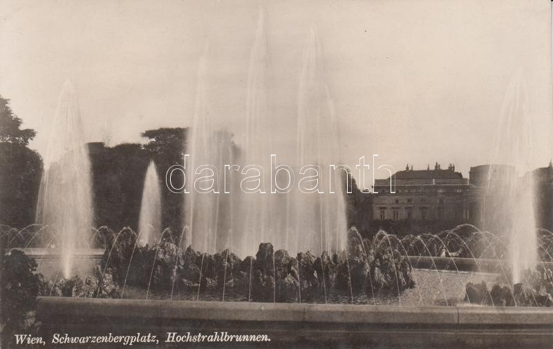 Vienna, Schwarzenberg square Wien, Schwarzenbergplatz, Hochstrahlbrunnen Bécs, Wien; Schwarzenberg tér, szökőkút