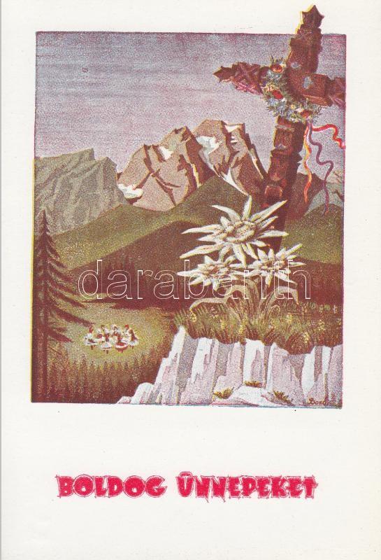 Hungarian folklore greeting card s: Bozó Gyula Boldog ünnepeket! kiadja az Árpád Nyomda, Szeged s: Bozó Gyula