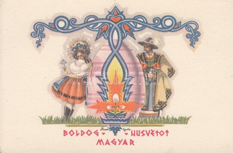 Boldog Magyar Húsvétot! s: Bozó Gyula Hungarian folklore, Easter greeting s: Bozó Gyula