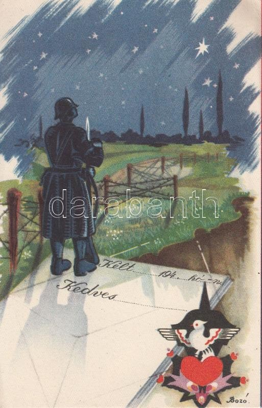 Magyar világháborús üdvözlőlap s: Bozó Gyula World War II, Hungarian folklore greeting card s: Bozó Gyula