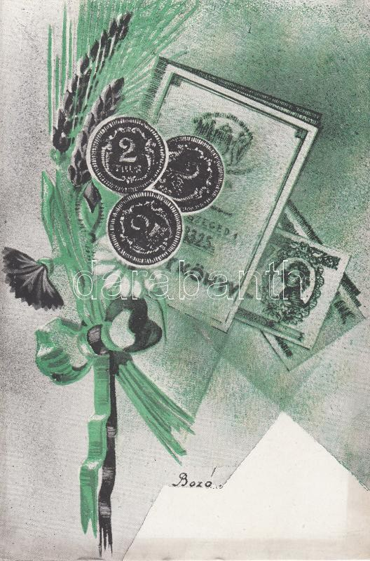 Hungarian numismatic greeting card s: Bozó Gyula Magyar üdvözlőlap, pénzek s: Bozó Gyula