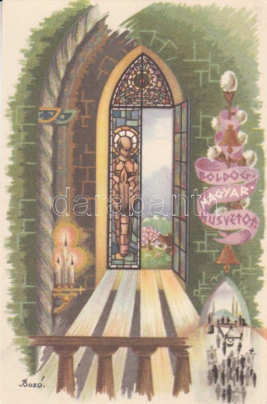 Hungarian folklore, Easter greeting s: Bozó Gyula Boldog Magyar Húsvétot! s: Bozó Gyula
