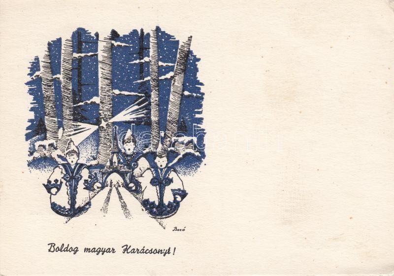 Boldog Magyar Karácsonyt! Árpád Nyomda, Szeged s: Bozó Gyula Hungarian folklore, Christmas greeting s: Bozó Gyula