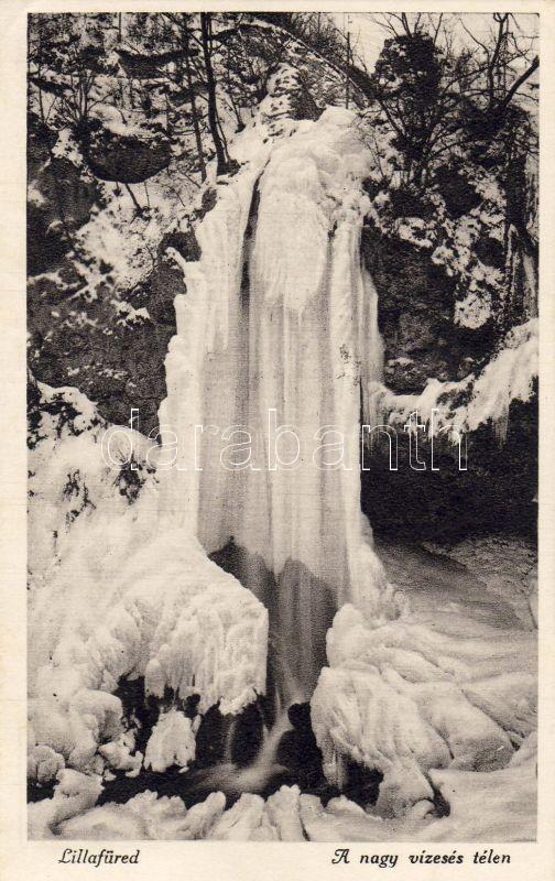 Lillafüred, vízesés télen, Márton Jenő felvétele