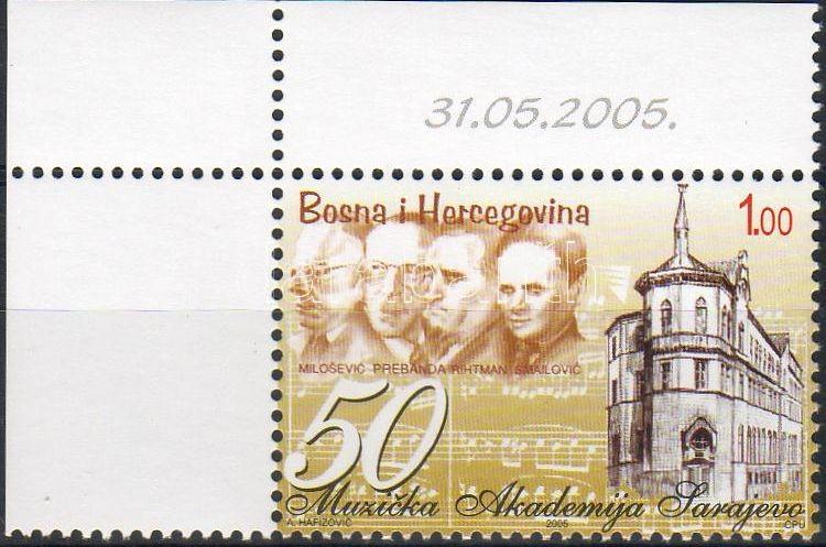 50th Anniversary of Music Academy, Sarajevo corner stamp, 50 éves a Zeneakadémia, Szarajevó ívsarki bélyeg, 50 Jahre Musikakademie, Sarajevo Marke mit Rand