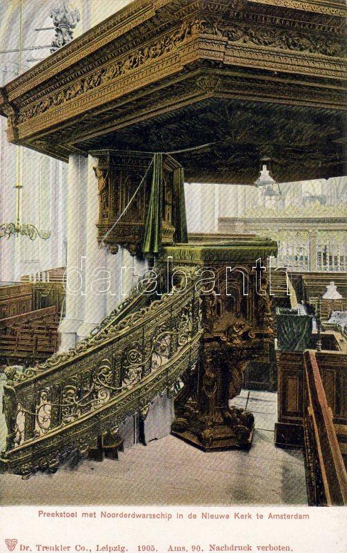 Amsterdam, Nieuwe Kerk, Noorderdwarsschip, Preekstoel / church, transept, pulpit, interior