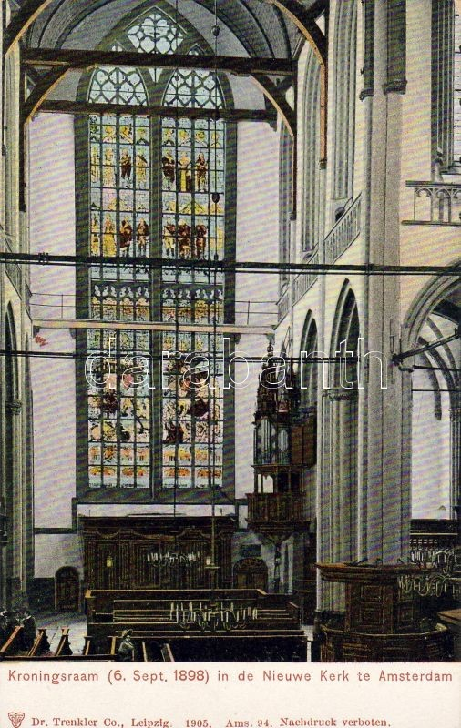Amsterdam, Nieuwe Kerk, Kroningsraam / church, Coronation Window, interior