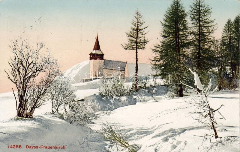 Davos, Frauenkirche / church, winter