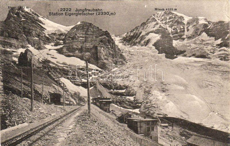 Station Eigergletscher, Jungfraubahn / railway station, train
