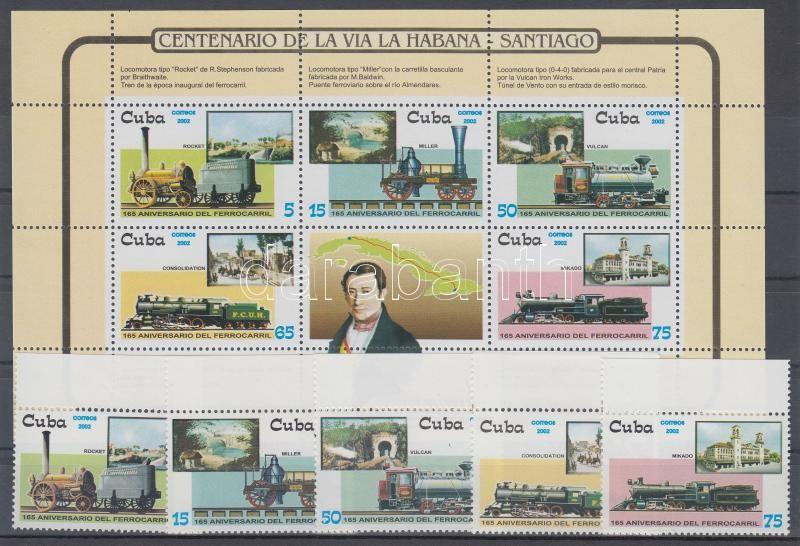 Old locomotives margin set + block, Régi mozdonyok ívszéli sor + blokk, 165 Jahre Eisenbahnen Satz mit Rand + Block