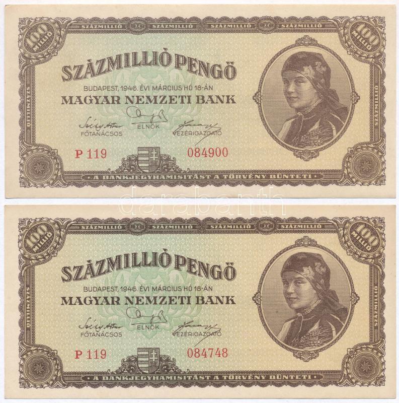 1946. 100.000.000 Pengő (2x), 1946. 100.000.000P (2x)