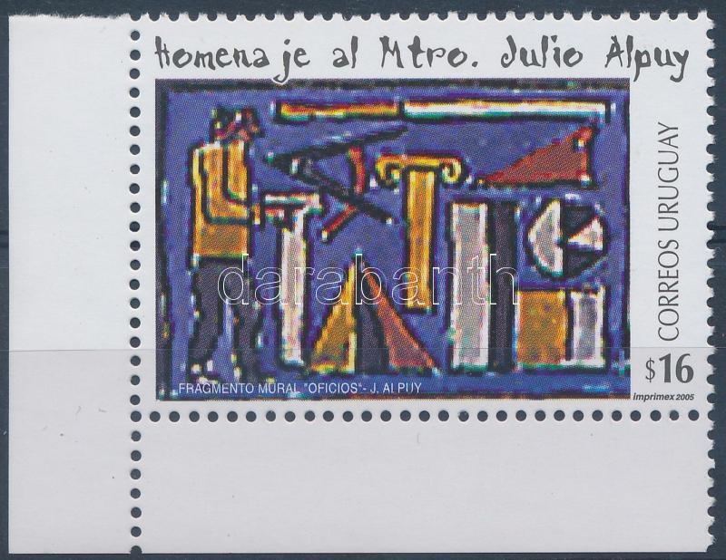 Julio Alpuy's painting corner stamp, Julio Alpuy festmény ívsarki bélyeg, Gemälde von Julio Alpuy Marke mit Rand
