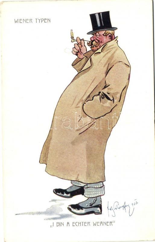 Wiener Typen / Viennan type, humour, B.K.W.I. 949-7 s: Schönpflug, Bécsi férfi, humor, B.K.W.I. 949-7 s: Schönpflug