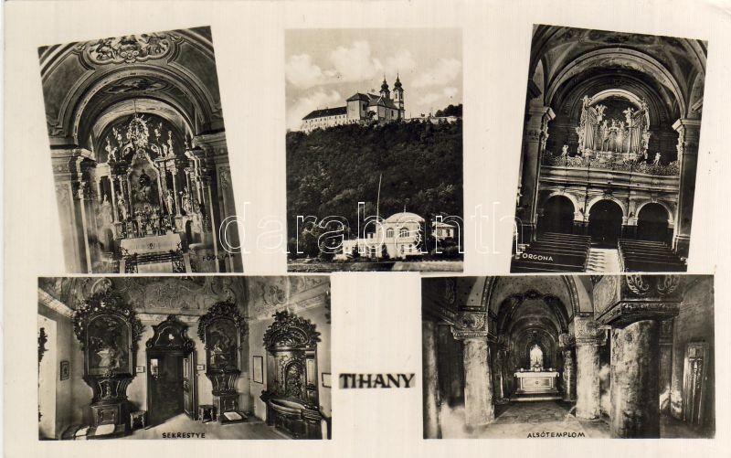 Tihany, Sekrestye, Alsótemplom, Orgona, templom belső