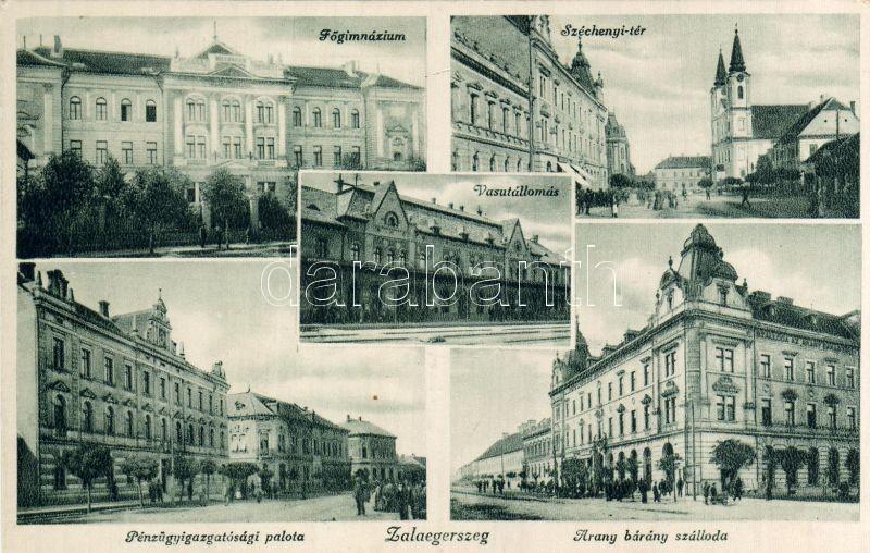 Zalaegerszeg, vasútállomás, Főgimnázium, Pénzügyigazgatósági palota, Arany Bárány szálloda, Széchenyi tér