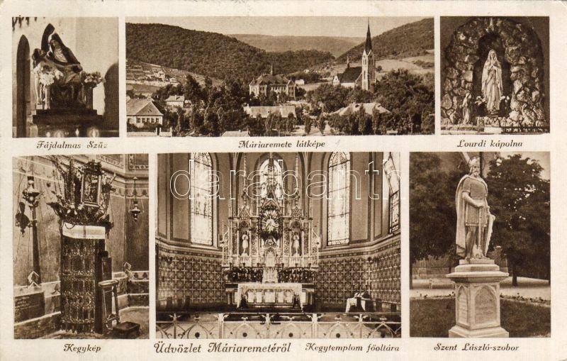 Budapest II. Máriaremete, Kegytemplom főoltár, Kegykép, Szent László szobor
