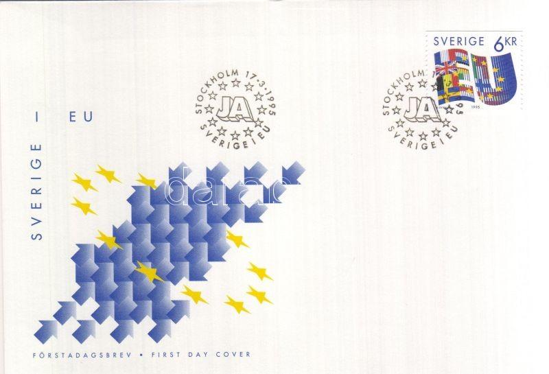 Sweden's accession to the European Union FDC, Svédország csatlakozása az EU-hoz FDC, Beitritt Schwedens zur EU FDC