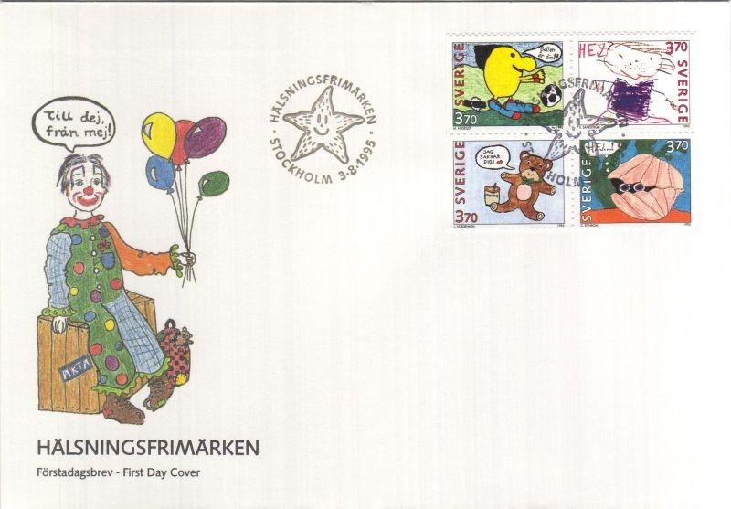 Üdvözlőbélyegek sor négyestömbben FDC-n, Greeting stamps set in block of 4 on FDC, Grußmarken FDC