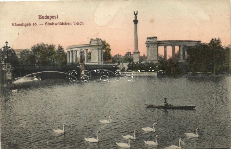 Budapest XIV. Városligeti tó, csónak, hattyúk