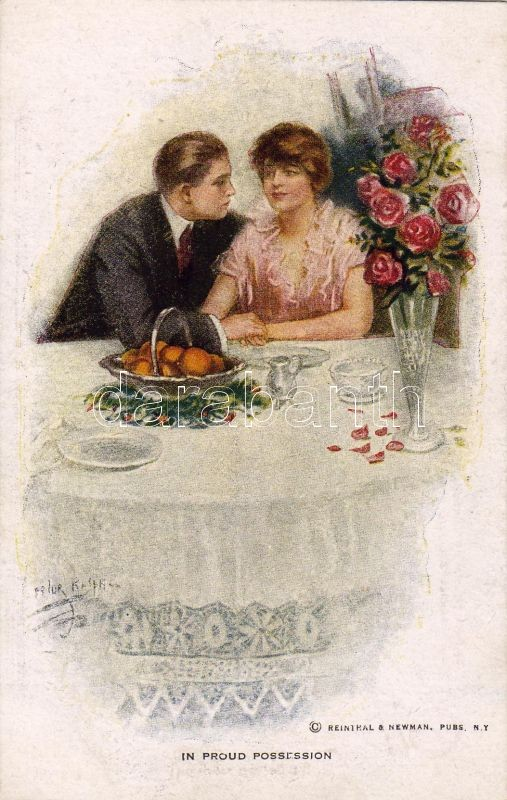 Romantic couple, dinner, einthal & Newman N.Y. Series 817. s: Lester Ralp, Romantikus lap, vacsorázó pár, Reinthal & Newman N.Y. Series 817. s: Lester Ralp
