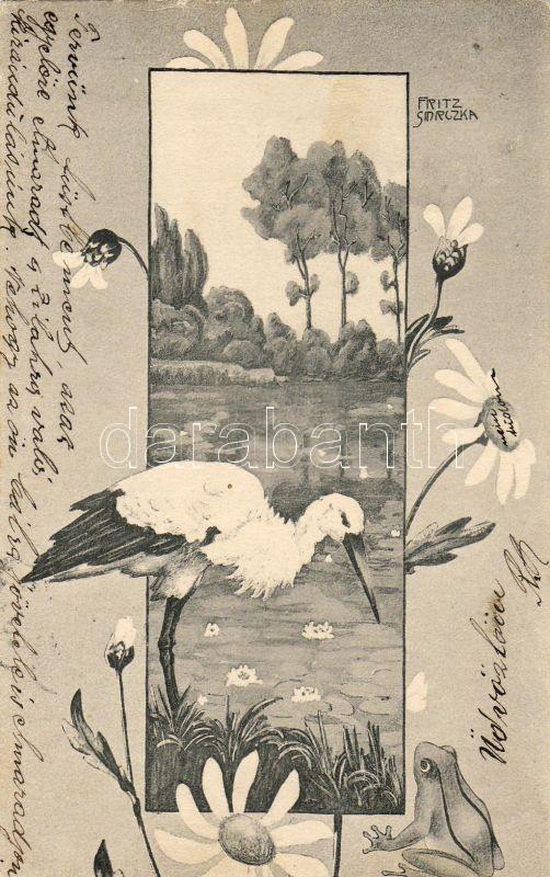 Stork and frog S: Fritz Smrczka, Gólya és béka S: Fritz Smrczka