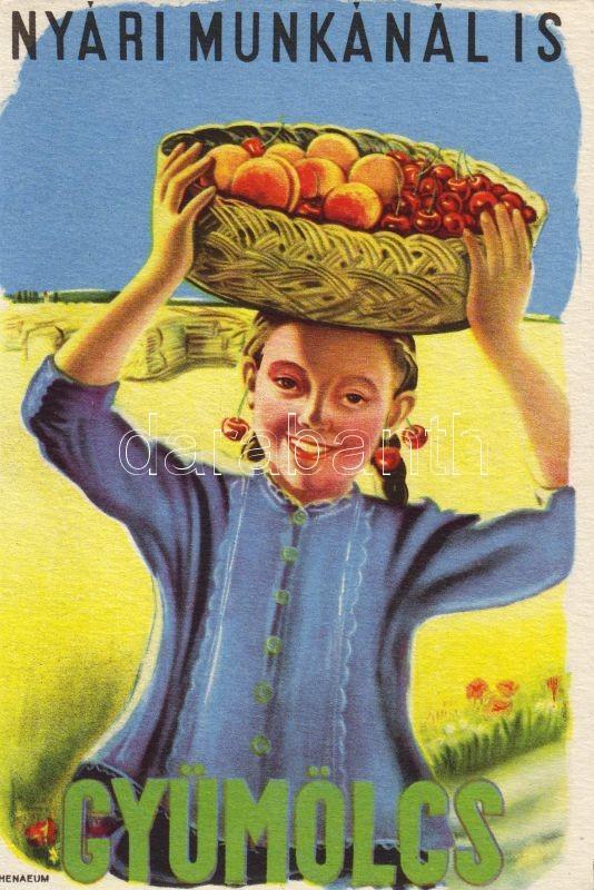 Hungarian propaganda, Vitamin C table on the backside, Nyári munkánál is gyümölcs! Magyar propaganda, hátoldalon C vitamin táblázat