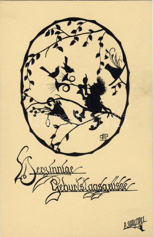 Birthday, trumpeter silhouette s: Paul Schrempel, Születésnap, trombitás sziluett s: Paul Schrempel