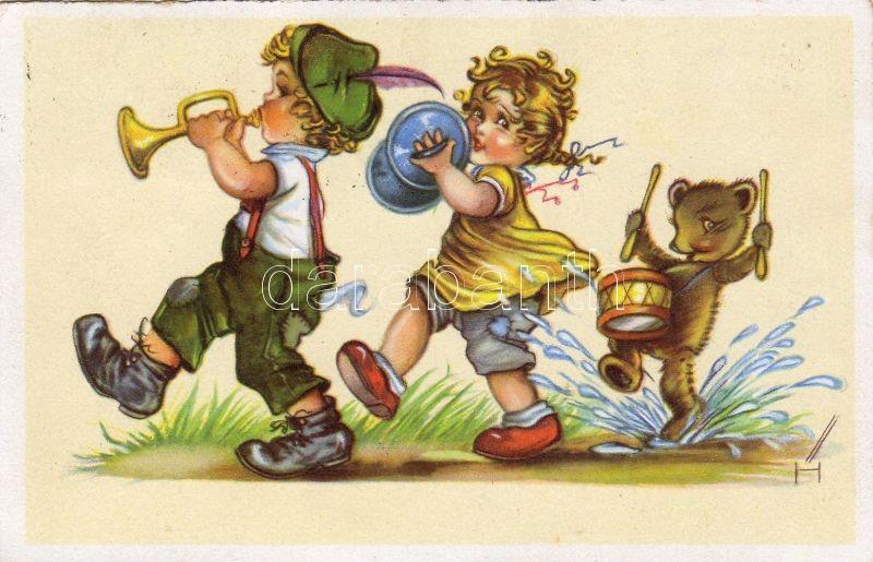 Children with bear, trumpet, cymbal, drums, Gyerekek medvével, trombita, cintányér