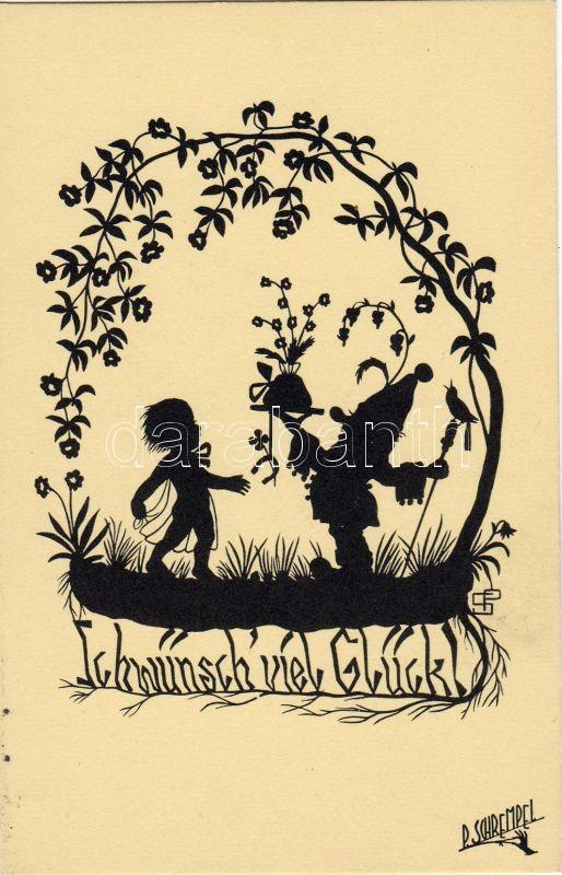 Good Luck, child, dwarf, horseshoe, clover, silhouette s: P. Schrempel, Sok szerencsét, gyerek, törpe, patkó, lóhere, sziluett s: P. Schrempel
