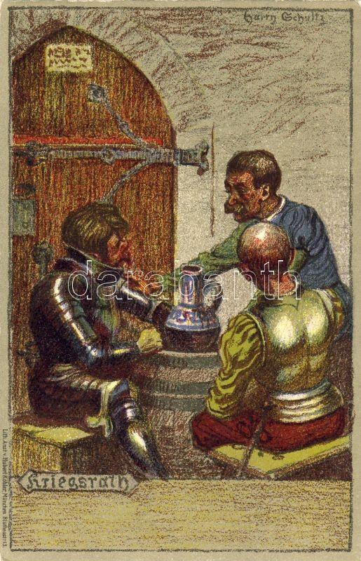 Kriegsrat / council of war, military, Middle Ages litho s: Schultz, Középkori haditanács litho s: Schultz