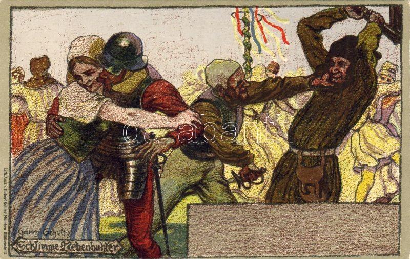 Schlimme Nebenbuhler / Bad rival, Middle Ages litho s: Schultz, Középkori katonai lap litho s: Schultz