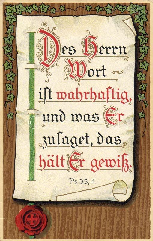 Biblical quote from Psalms, religious postcard litho, Bibliai idézet a Zsoltárok könyvéből, vallásos lap litho