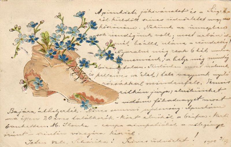 Flower in shoe, Emb., Virág cipőben, Emb.