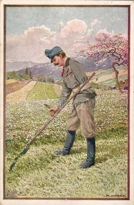Soldier with scythe, 'Rotes Kreuz Kriegsfürsorgeamt' Nr. 533. s: R. Moser, Kaszáló katona, 'Rotes Kreuz Kriegsfürsorgeamt' Nr. 533. s: R. Moser