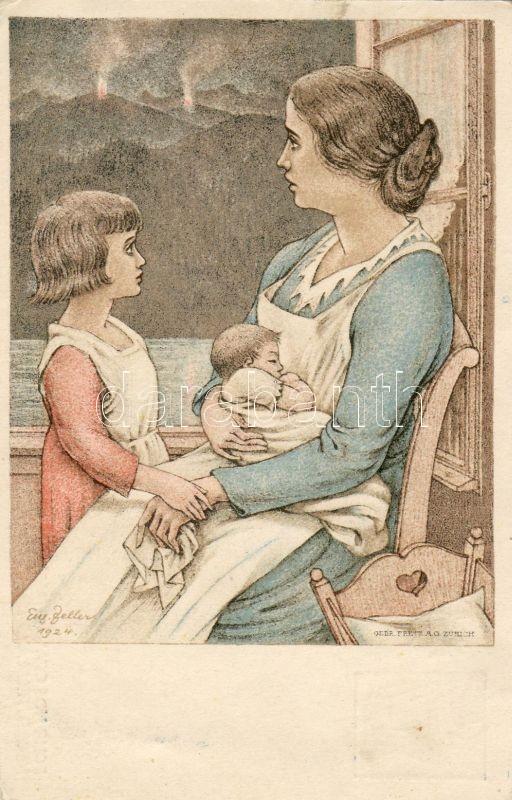 Mother with her children 'National Day' s: Eugen Zeller Ga., Anya gyermekeivel '1924 Nemzeti ünnep'' s: Eugen Zeller Ga.