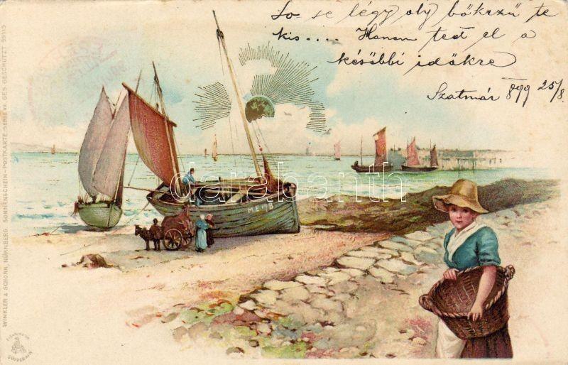 1899 Girl with boat, beach, 'Winkler & Schorn, Sonnenschein-Postkarte Serie VIII' litho, 1899 Lány csónakkal, tengerpart, 'Winkler & Schorn, Sonnenschein-Postkarte Serie VIII' litho