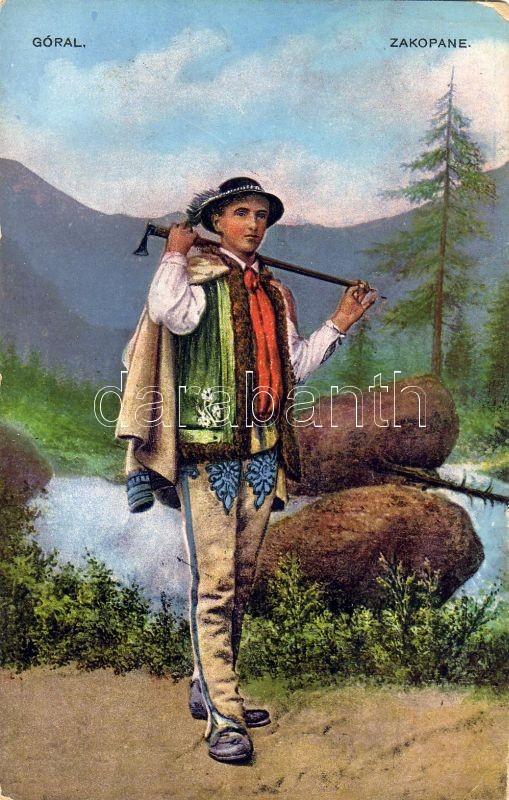 Góral / Polish folklore from Zakopane, mountaineer, Lengyel folklór Zakopaneból, hegymászó