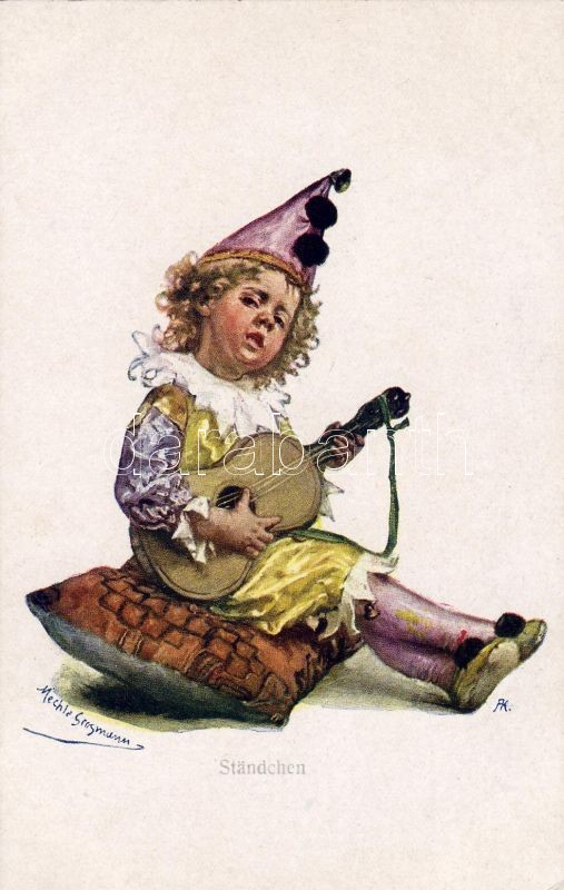 Ohrenschmaus / Child clown, guitar, B.K.W.I. Nr. 148-1. s: Mechle Grossmann, Bohóc gyerek, gitár, B.K.W.I. Nr. 148-1. s: Mechle Grossmann
