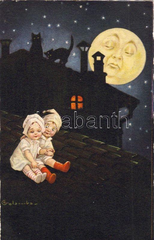 Italian art postcard, children, moon, night s: Colombo, Olasz művészlap, gyerekek, hold, este s: Colombo